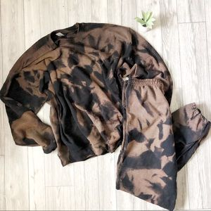 New Black Bleached Sweatsuit Set tie dyed S-3X